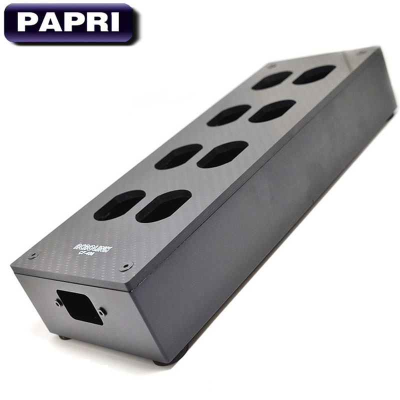 PAPRI Original HiFi 8 Outlet Carbon Fiber US AC Power Socket Enclosure Box Case Chassis DIY Power Distributor Audio Amplifier free shipping one pieces black aluminum us ac power distributor 8 outlet power supply box chassis case