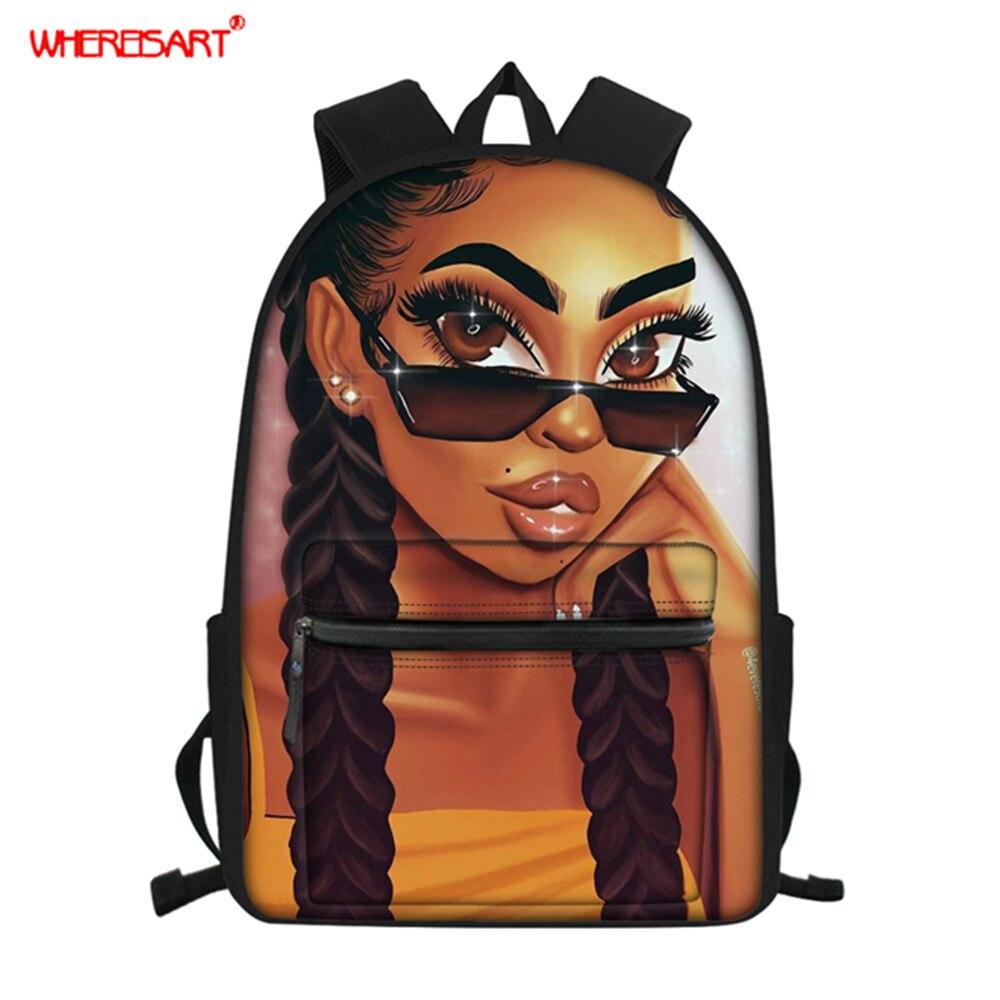 WHEREISART Women Backpack For School Teenagers Girls Bookbag Afro Black Girl Magic Printing
