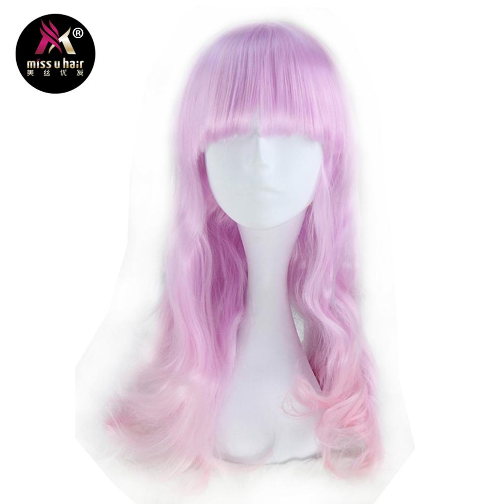 Miss U Hair Girl Long Wavy Multi-color Colors Style wig Can be Ironed Halloween Wigs Party Cosplay Costume Wig