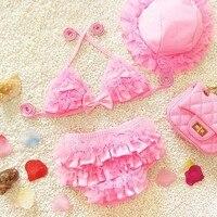 Baby Girls Swimwear Kids Swimming Bikinis Set Three Pieces Baby Girls Bathing Suit Children Lace Cute