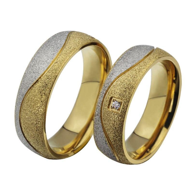 Titanium steel ring color color Cubic Zircon couple models rings