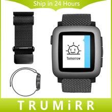 22mm milanese bucle de tiempo de acero banda reloj de pulsera correa de acero inoxidable para pebble asus zenwatch 2 lg g watch w100/w110/w150