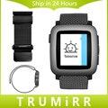 22mm milanese laço tempo de relógio de aço inoxidável banda strap pulseira para pebble aço asus zenwatch 2 lg g watch w100/w110/w150