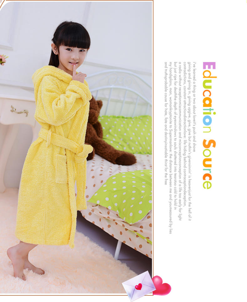 2018 spring and autumn winter bathrobe children puppy hooded long sleeved pajamas girl wearing comfortable warm robe of children