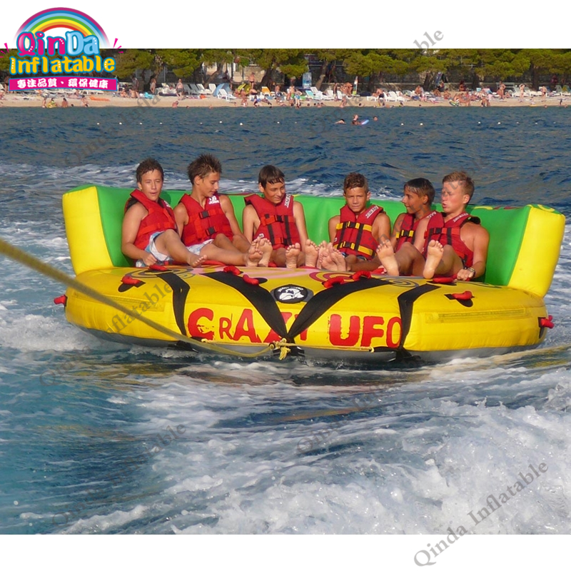 2017 Customised Inflatable Crazy UFO,Inflatable Water Crazy UFO Inflatable Towable Tube,Water Ski Tube Flying Sofa 4 1m red colour inflatable towable tube crazy ufo flying boat inflatable water sofa for summer water park
