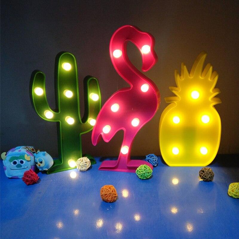 Lámpara luz de noche LED 3D de flamenco con diseño de piña, Cactus, nube, luz nocturna romántica, lámpara de mesa para decoraciones navideñas, decoración del hogar Fiesta de aniversario de regalo de San Valentín de cristal Artificial romántico de flores eternas de Rosa simulada
