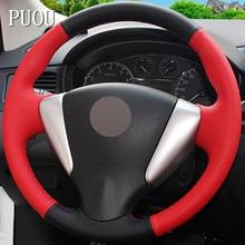 Черный, красный Натуральная кожа ручной работы рулевого колеса автомобиля чехол для Nissan Tiida Sylphy Sentra Versa Note