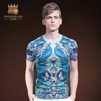 FANZHUAN Featured Merken Kleding Nieuwe Zomer Mode Nieuwe Korte Mouw T-Shirts Mannen Tees Chinese Stijl Dier Patroon Print Tops