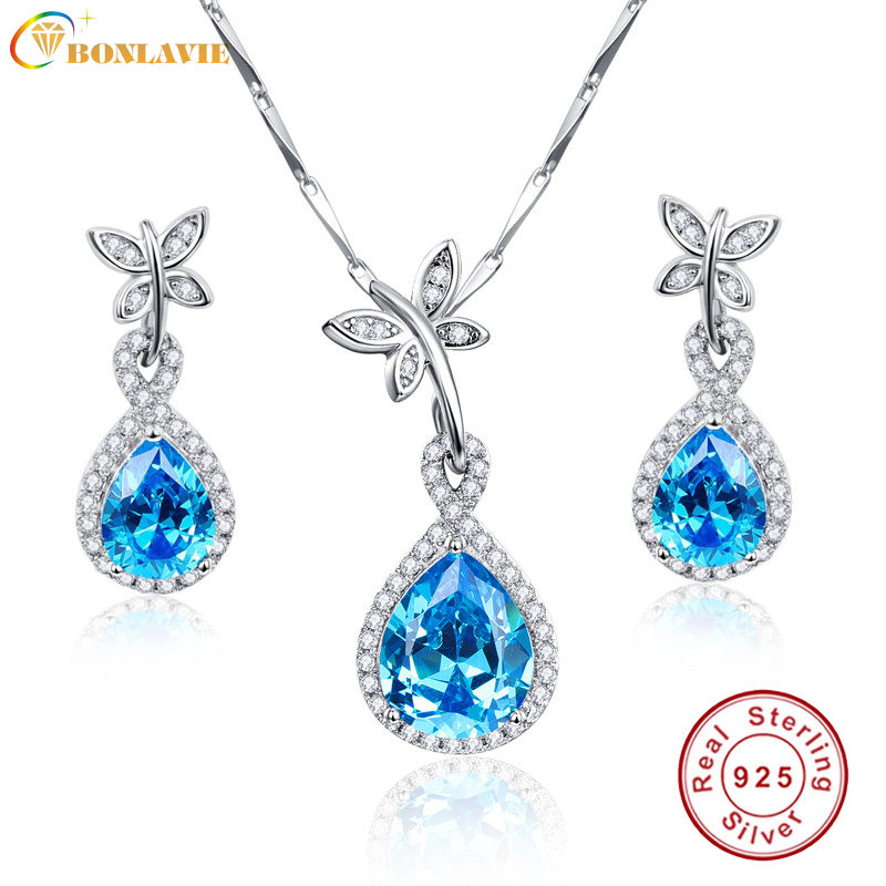 BONLAVIE Blue Topaz Earring Necklace Set for Wedding Elegant Jewelry Set 925 Sterling Silver Chain Quality Promise Love Gift