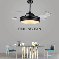 42 Ceiling Fans Invisible Retractable Blades Farmhouse Industrial Pendant fan Lamp with Changeable LED Invisible Ceiling Fan