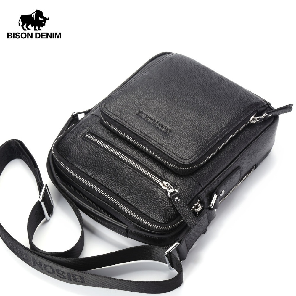 BISON DENIM Genuine Leather Men Bags Ipad Handbags Male Messenger Bag Man  Crossbody Shoulder Bag Men s Travel Bags N2333-1 fa943fdbfd998