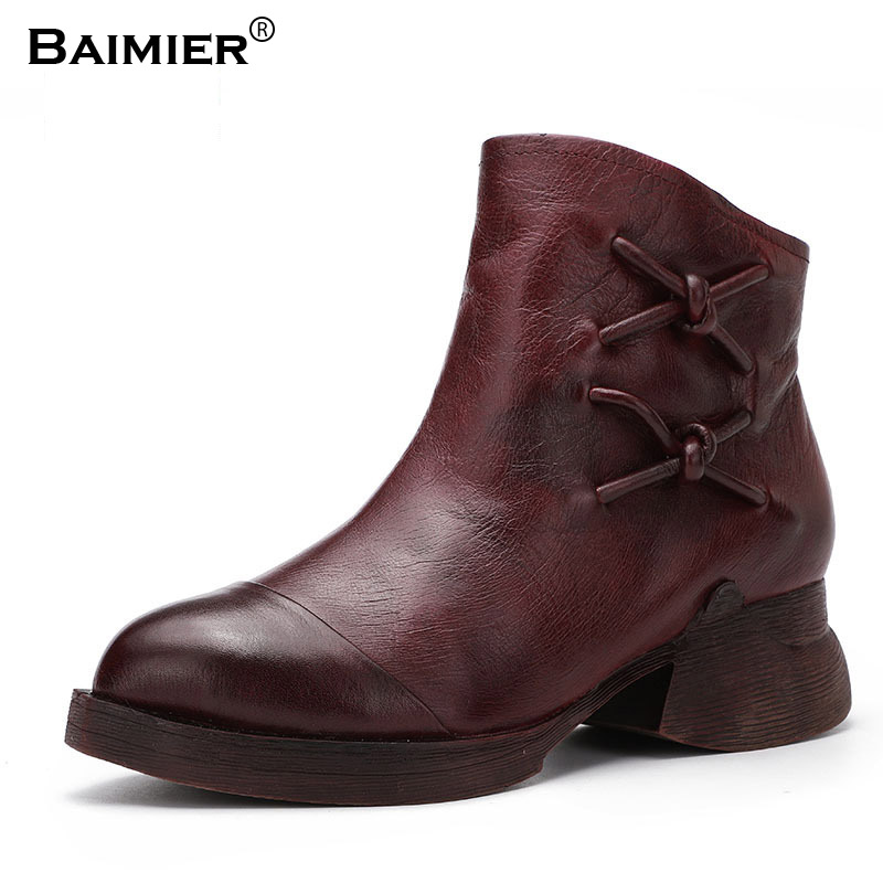 Fashion Martin Boots Women Spring Autumn Genuine Leather Shoes Pointed Toe Woman Ankle Boots Bowtie Retro Med Heels Boots 2018 new fashion spring autumn genuine leather motorcycle boots shoes woman pointed toe ankle boots chunky mid heels women shoes