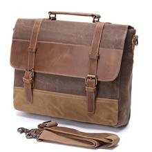 バッグブリーフケースレザー男性ブリーフケース本革防水キャンバスメンズブリーフケースのラップトップバッグ
