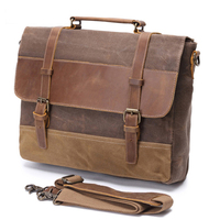 Briefcase Leather Men Briefcase Genuine Leather Waterproof Canvas Men Briefcase Laptop Bags