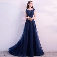 Navy Blue Muslim Evening Dresses 2019 Sweep Train vestido de festa Plus Size  vestido longo Party Prom Dress Long Evening Gowns 3e24347fc629