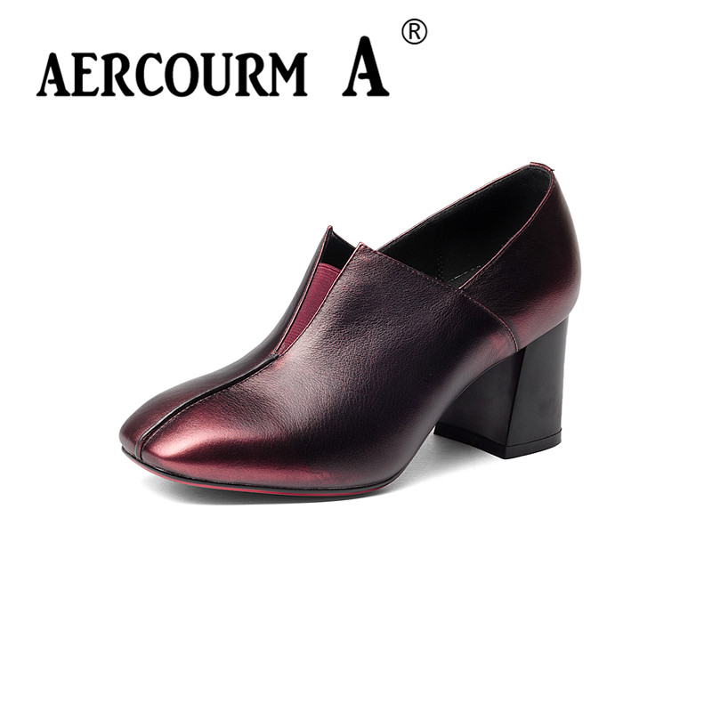 Aercourm A 34-43 Woman Shoes Genuine Leather Inside Low Heels Women Pumps Heel Women's Work Shoes Pointed Toe Casual Shoes H915 women s casual genuine leather shoes sheepskin block low heels pumps round adornment brown black low heels shoes for women
