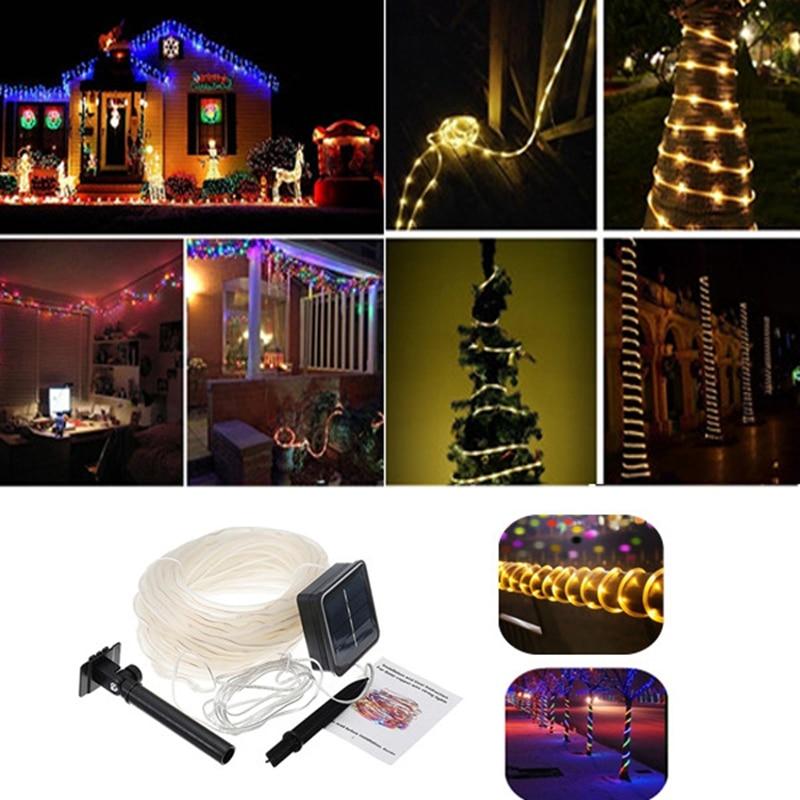 12M 100LED Christmas Solar String Light Copper Wire PVC <font><b>Tube</b></font> Garden Waterproof LED Light String Balcony Decoration Light String