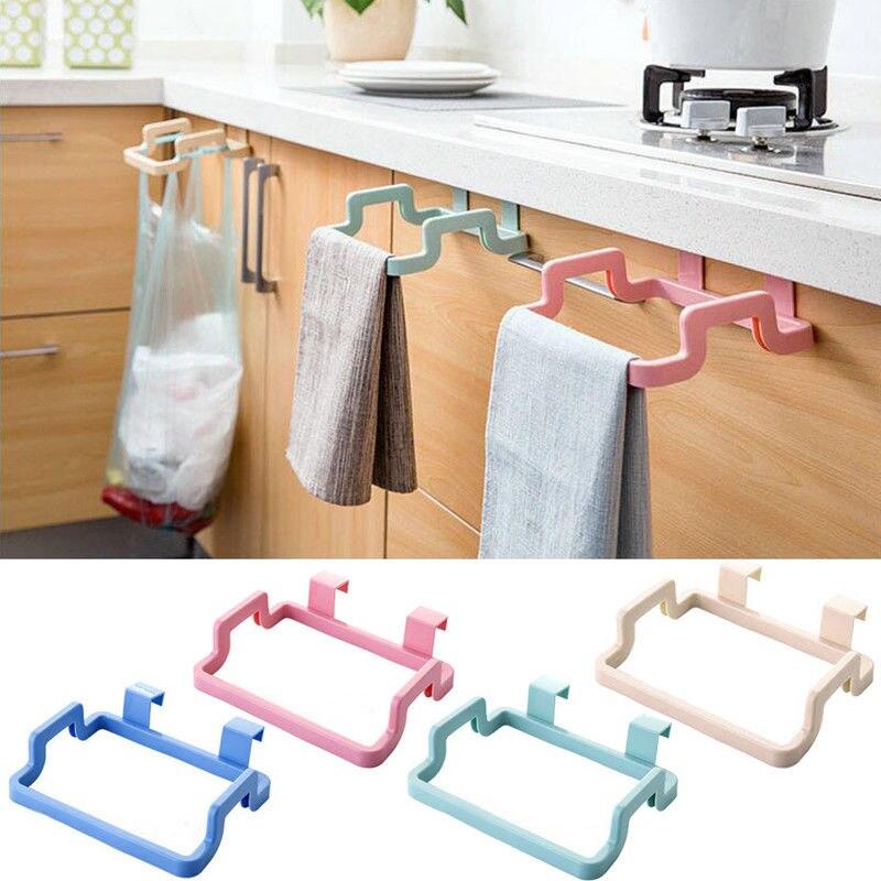 Plastic Hanging Trash Garbage Bag Stand Dishcloth Holder Cupboard Cabinet Hanger Door Back Towel Storage Rack Simple Waste Bag