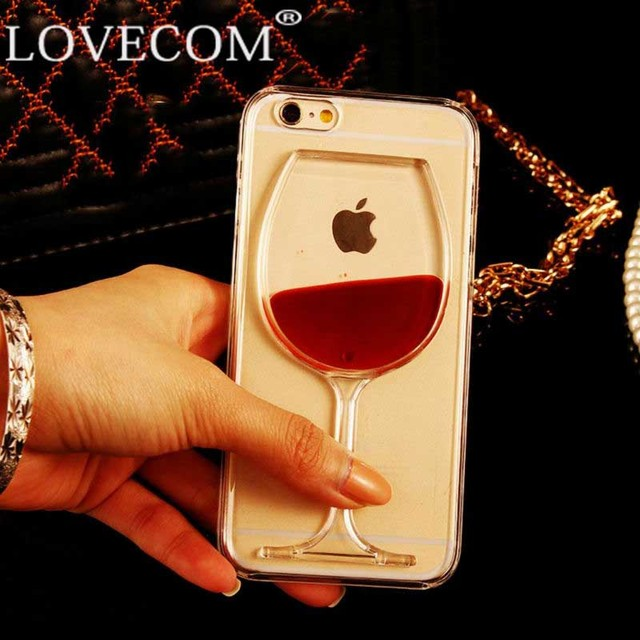 LOVECOM For iPhone 6 6S Plus 4 4S 5C 5 5S SE 7 7 Plus Phone Case Liquid Quicksand Red Wine Stars Transparent PC Hard back Cover