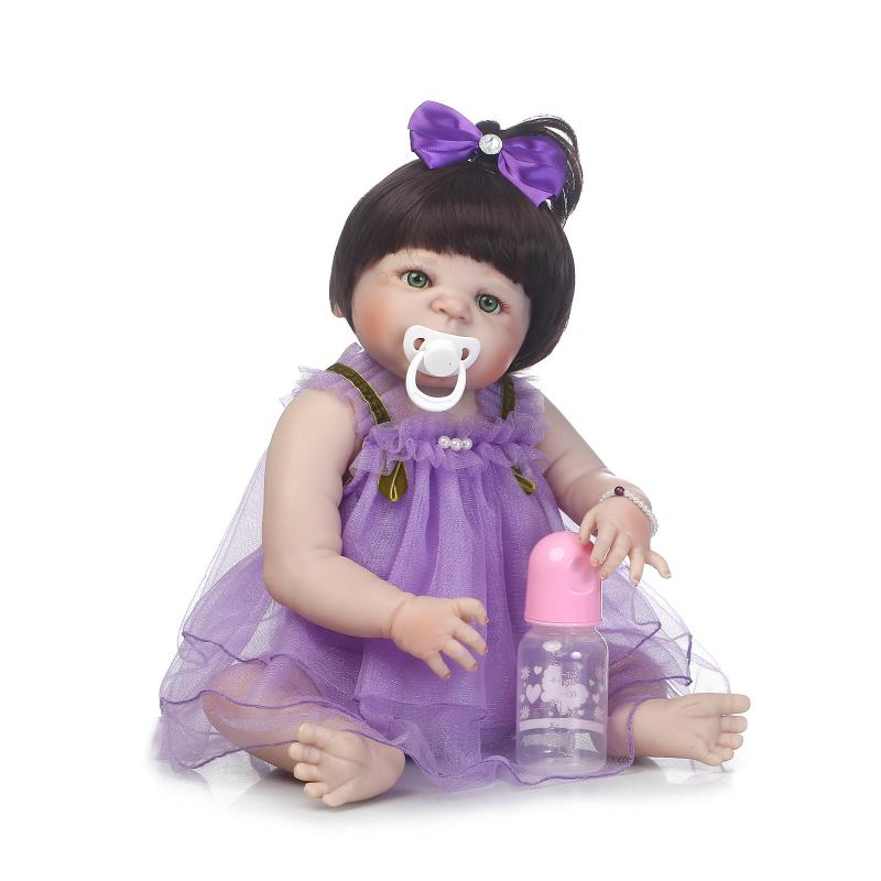 58cm New Full Body Silicone Reborn Baby Doll Toys Newborn Christmas Birthday Gift Bebe Girl Baby Doll Bathe Toy Girl Brinquedos fashion reborn baby doll girl full body silicone vinyl 58cm 23inch realistic newborn baby doll kids birthday christmas gift