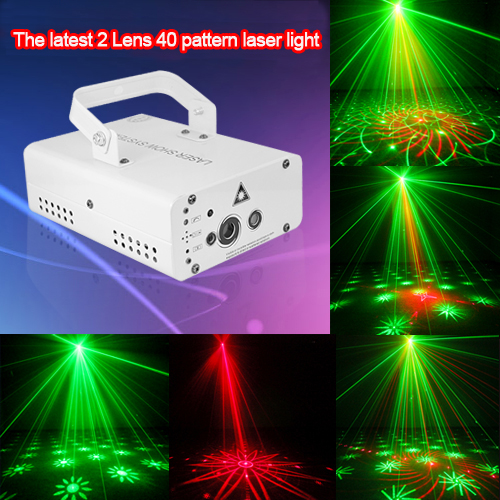The latest 2Lens 40 pattern laser light for DJ Disco Club Party Stage Lighting Effect stage lighting 3 lens 24 pattern club rg laser blue led home party professional projector illumination dj light disco club laser