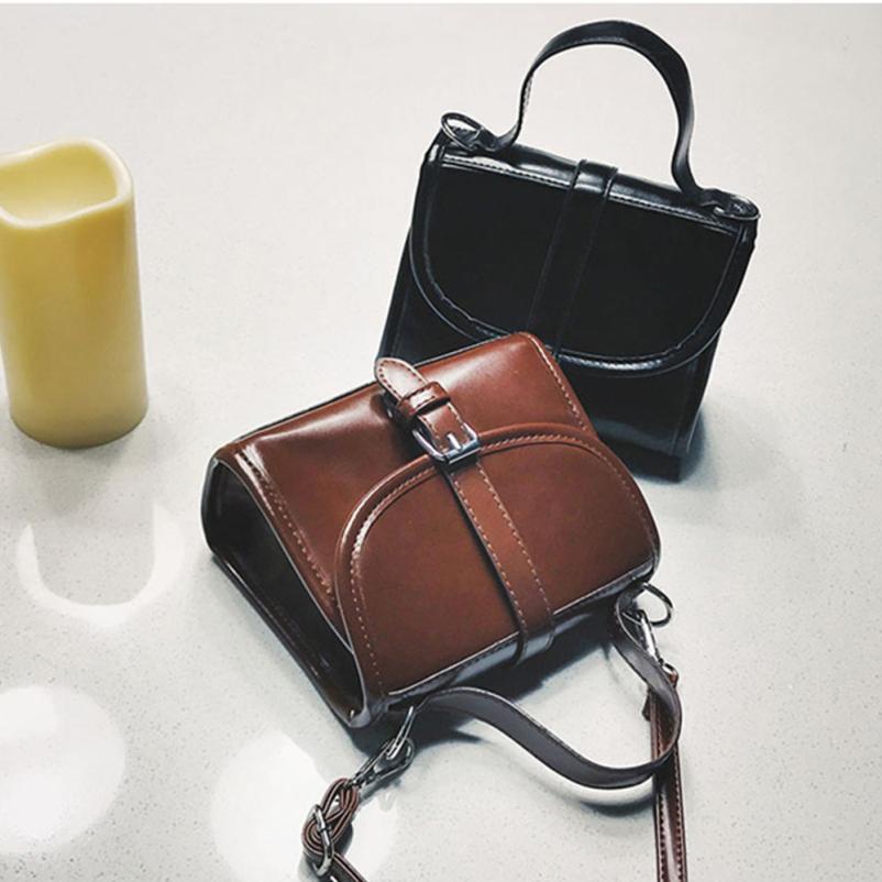 Для женщин Мода Искусственная кожа ретро сумка женская сплошной цвет пряжки сумочку небольшой площади посылка # F