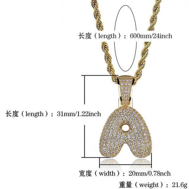 Cubic Zircon Letters Pendant Necklaces 4