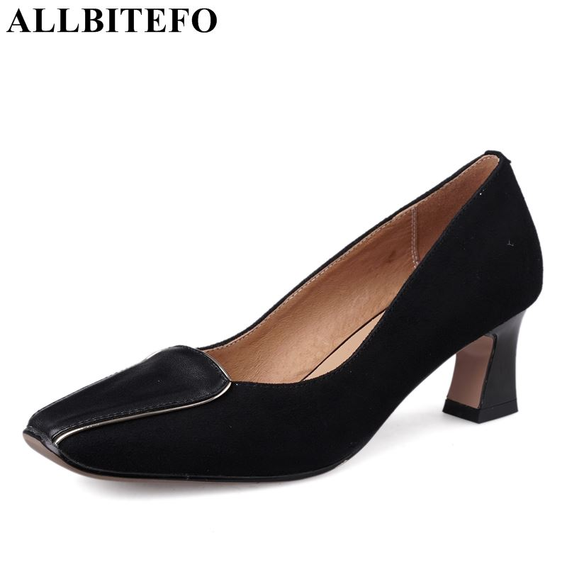 ALLBITEFO genuine leather women heels middle heels shoes square toe office ladies fashion formal comfortable shoes womanALLBITEFO genuine leather women heels middle heels shoes square toe office ladies fashion formal comfortable shoes woman