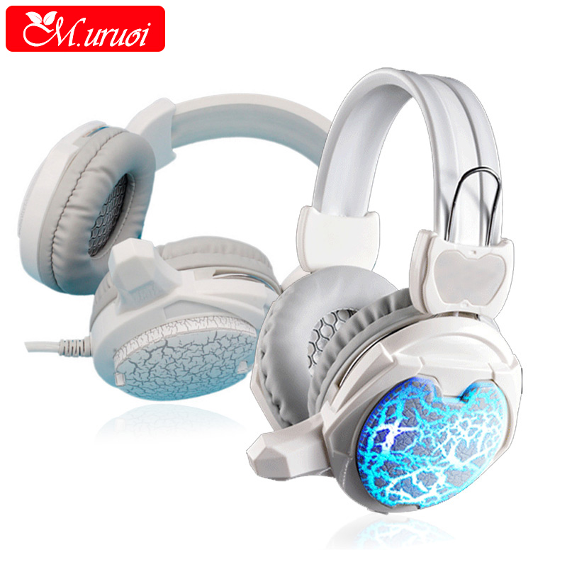 M uruoi Glow In The Dark Earphones Gamer Casque Audio Stereo Headphone With Mic For PC