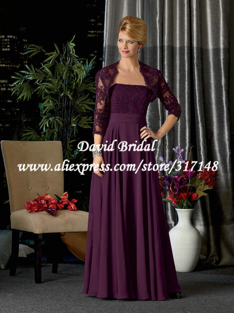 30479b7ff50f5 ZF433 Appliques Eggplant Lace Jacket Chiffon Dark Purple Mother of the Bride  Dresses