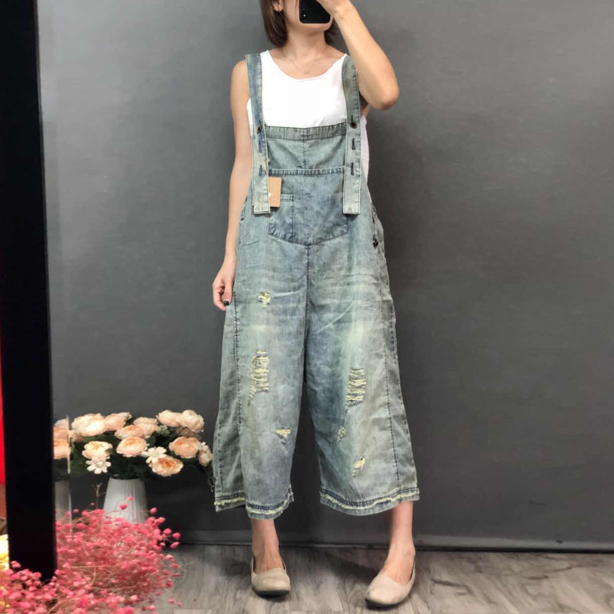 fbd0fb81803 Women Summer Autumn Vintage Holes Bleached Jumpsuits Denim Trousers Female  Jeans Ladies Overalls Ripped Scratched Retro
