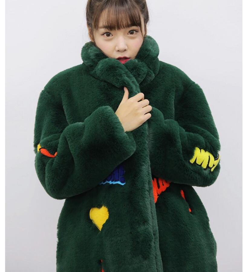 Fur negro Suelta Mujer Camel Oscuro Coat negro Verde Hip Delgado Moda camel  Nuevo Hop Largo Rabbit Invierno ... 769d5f174ce