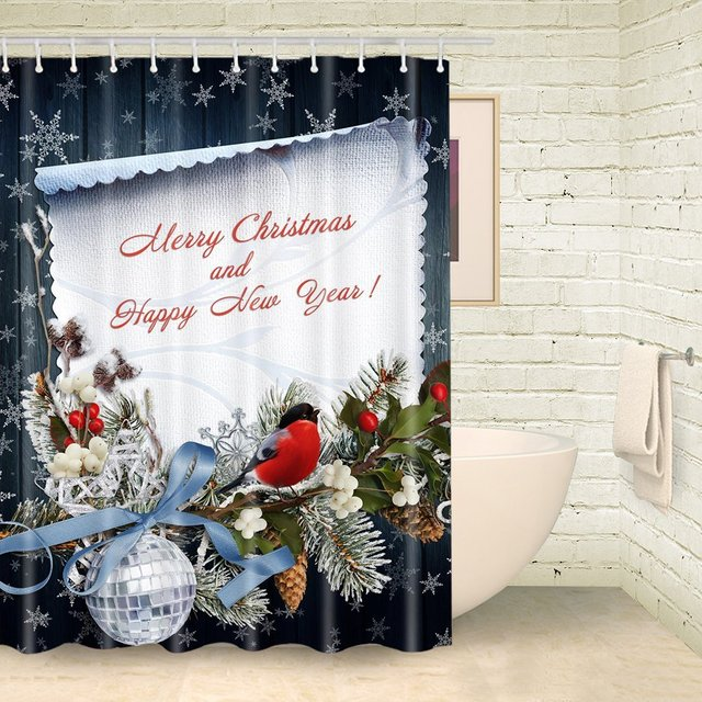Merry Christmas Fabric Shower Curtain Mat Waterproof Polyester ...