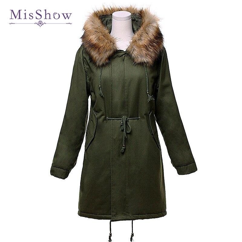 MisShow New Winter Coat Women 2XL Jackets Cotton Padded Medium Long Faux Fur Hooded Woman   Parkas   Outwear Warm Overcoat