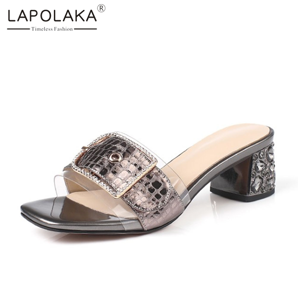 lapolaka new big size 33 43 genuine leather shoes mules belt buckle crystal ladies high heels shoes woman casual summer slippers