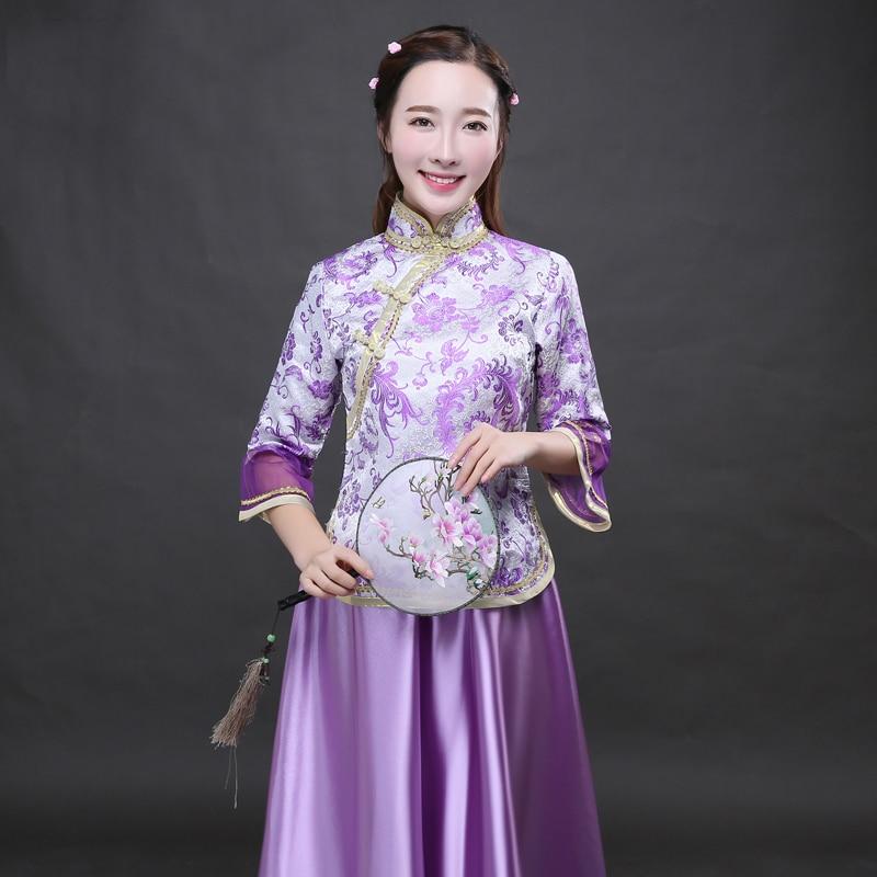 Púrpura clásica chino tradicional señora Sets dama vestido de fotos ...