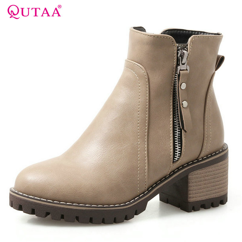 QUTAA 2018 Fashion Women Boots Zipper Pu Leather Ankle Boots Round Toe Wetrn Style Spring and Autumn Women Boots Size 34-43 qutaa 2018 women ankle boots fashion zipper square high heel pointed toe pu leather spring and autumn women boots size 34 43