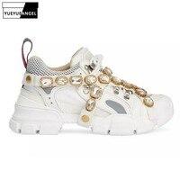Кристалл украшения из металла кроссовки женские изысканные бренд ручной работы разноцветные Сникеры на платформе обувь цепи обувь из нату