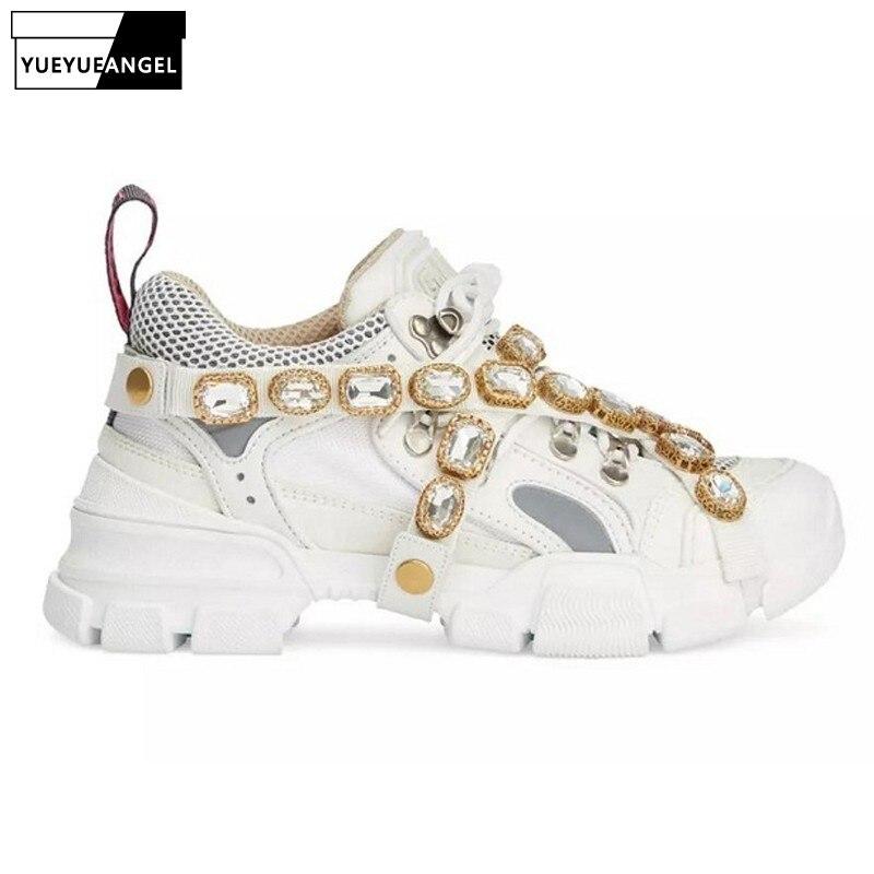 Cristal métal décoration baskets femmes marque de luxe à la main mixte couleurs plate-forme formateurs chaussures chaîne en cuir véritable chaussures