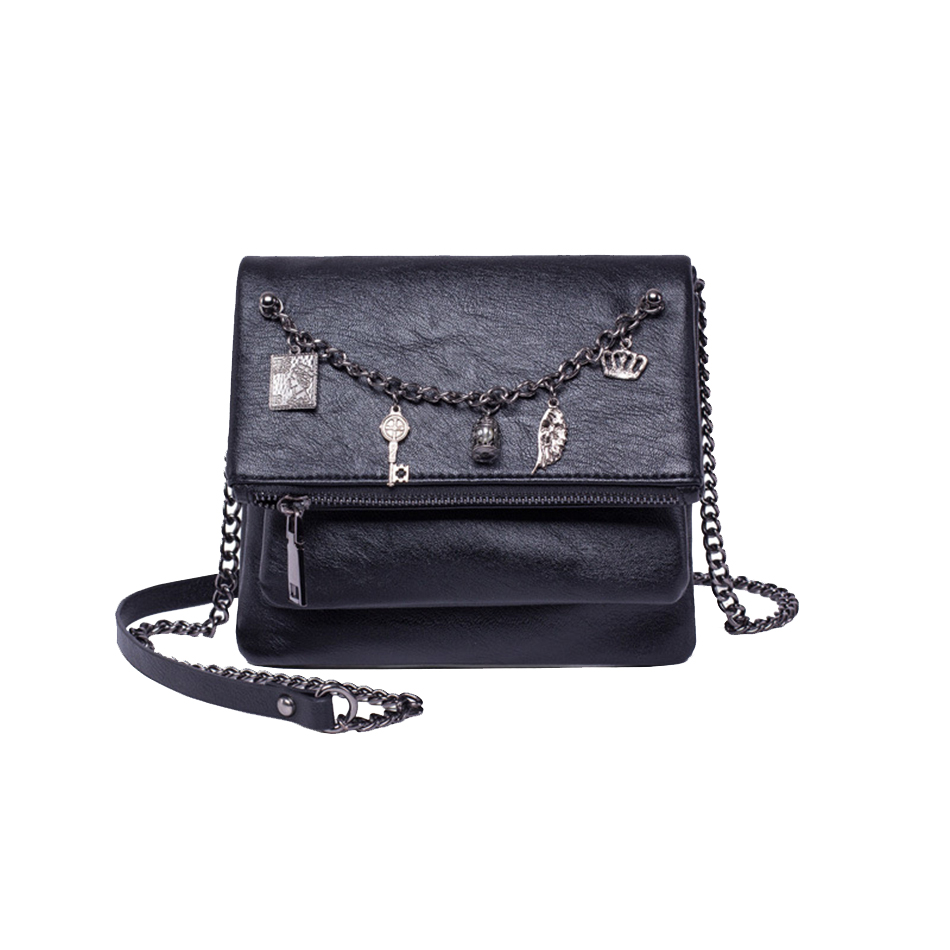 KEYTREND New Women Messenger Bags Fashion Shoulder Crossbody Bags Female PU Leather Mini Chains Black Handbags For Girls KSB365