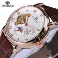 Forsining série design de moda de luxo subiu caso de ouro mens relógios top marca de luxo turbilhão de exibição de diamante watc automático