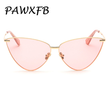 Pop Age 2018 New Metal Cat Eye Pink Sunglasses Women Brand Designer Vintage Retro Ladies High quality Eyewear 400UV