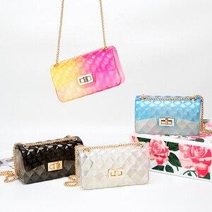 Image 5 - Модная цветная женская сумка из ПВХ высокого качества, прозрачная клетчатая желеобразная сумка через плечо, градиентная женская сумка на плечо ярких цветов