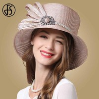 FS Wide Brim Hat Fedora Women Derby Hats Fascinators Church Big Wedding Hat With Rhinestone Church Party Female