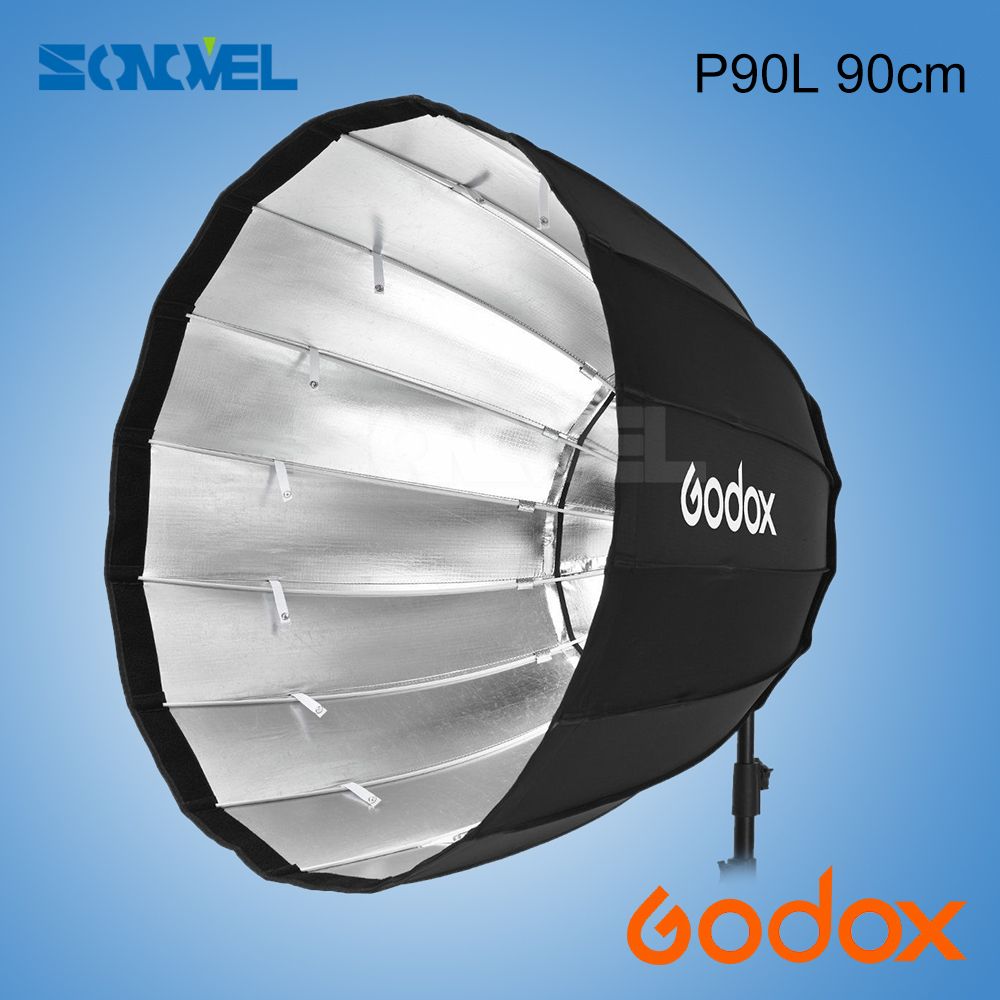 Godox P90L 90cm Deep Parabolic Softbox with Bowens Mount Adapter Ring for Bowens Mount Studio Monolight Flash Light godox portable deep parabolic softbox p90l 90cm for bowens mount studio flash speedlite reflector photo studio softbox