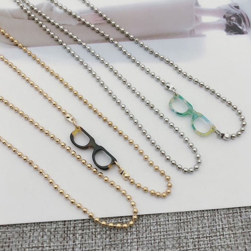 Small Glasses Design Gold Silver Eyeglass Chains Sunglasses Reading Beaded Glasses Chain Eyewears Cord Holder Neck Strap Rope