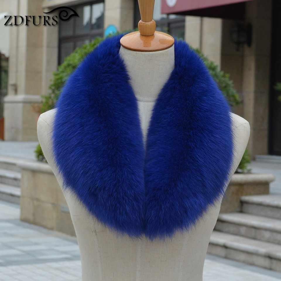 ZDFURS * воротник из натурального Лисьего меха, Женская шаль, шейный теплый жакет, меховой воротник, палантин, натуральный Лисий брелок с мехом, шарфы