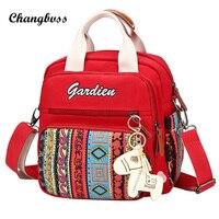 2017 New Vintage National Printing Shoulder Bag Orange/Red/Black Crossbody Bags For Women Fashion Messenger Bags bolso mujer