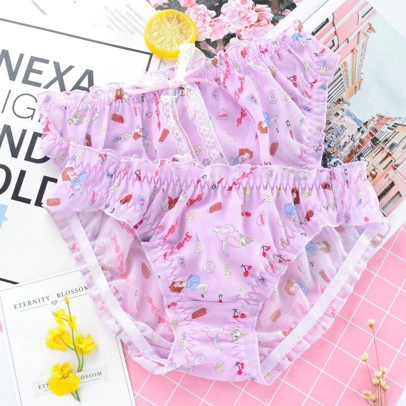 SP&CITY Japan Big Bow Lolita Lace Panties Women Sexy Seamless Underwear Cartoon Printing Ruffle Briefs Milk Silk Lingerie Thongs