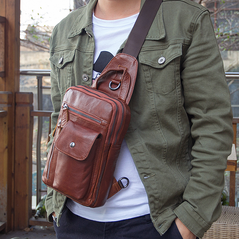 Augus New Product Hot Sale Real Cow Leather Bag Classic Style Brown Simple Design Crossbody Bag Chest Bag Shoulder Bag 4006B best new product on sale 30